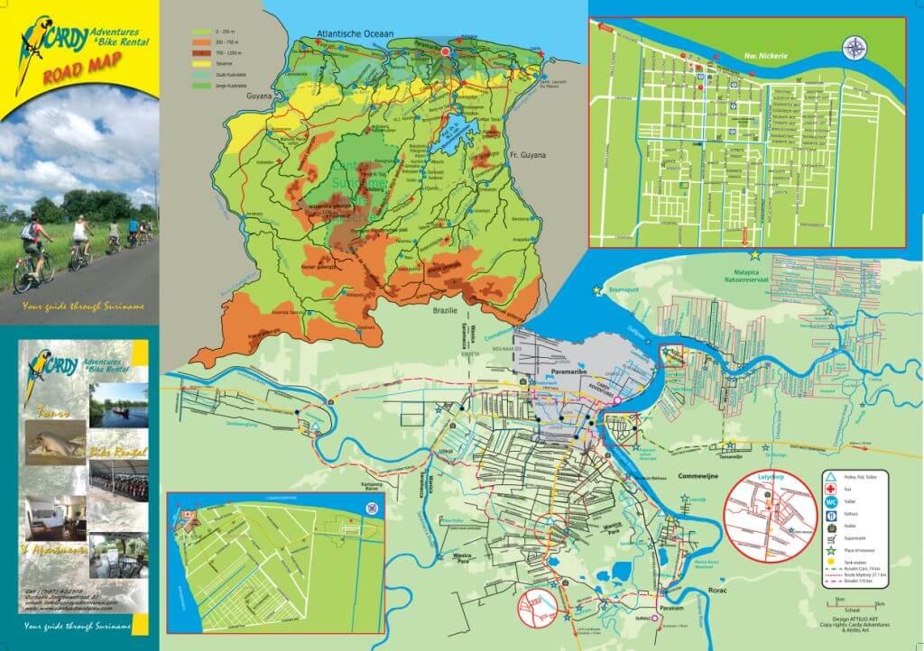 fietsrouten kaart Suriname